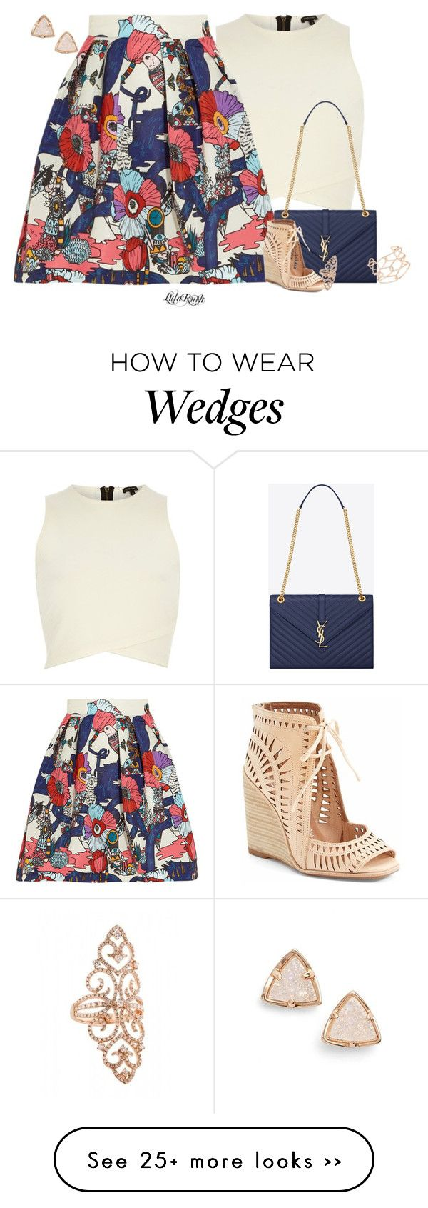 """""""Skirt with Wedge Sandal"""" by melanie-cross on Polyvore"""
