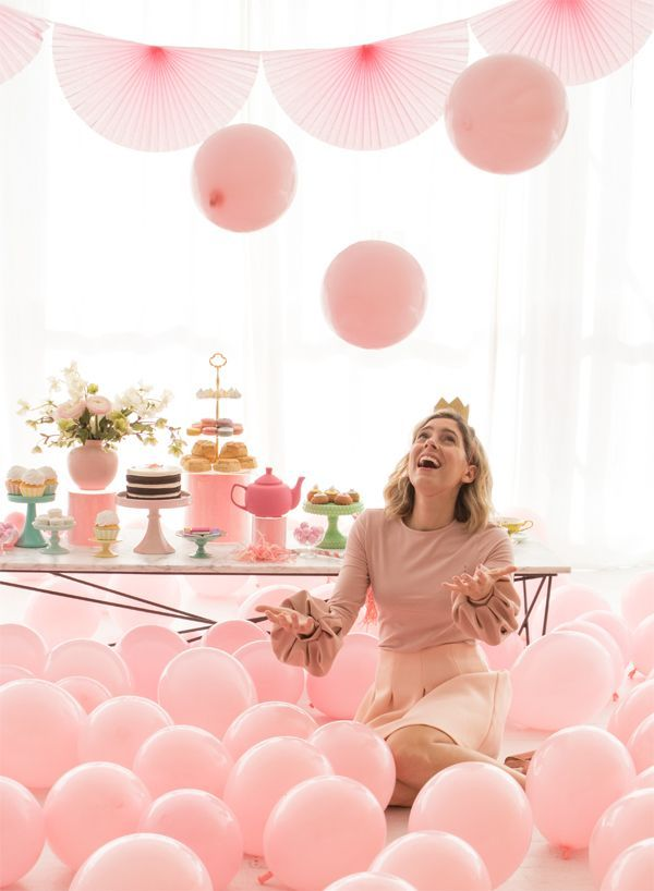 bridal shower decor idea tea party bridal shower with pink balloons courtesy of oh