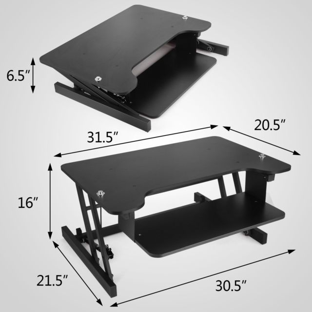 Ergonomic Adjustable Height Stand Up Desk Lift Rising Workstation Rise Up NEWEST