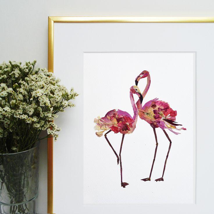 Flamingo art from pressed flowers Flamingos picture Dry flowers Pressed botanicals Plant art nursery wall art Pressed flowers art Original