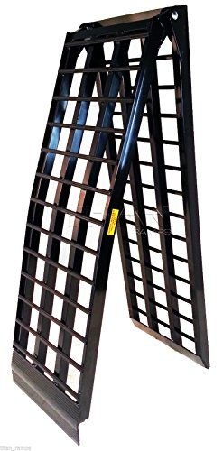 """9 ft HD Wide 4 Beam Motorcycle Loading Ramp harley cycle dirtbike truck (108 -D)  9 ft HD Wide 4 Beam Motorcycle Loading Ramp harley cycle dirtbike truck (108 -D) The wide heavy duty Titan 9 ft ramp is the ultimate solution when loading your motorcycle or other 2 wheeled items into a truck or trailer. This improved 4 beam design now has 5/8"""" thick rungs for more support when loading your heavy items.  http://www.newmotorcyclestore.com/9-ft-hd-wide-4-beam-motorcycle-loading-ramp-har.."""