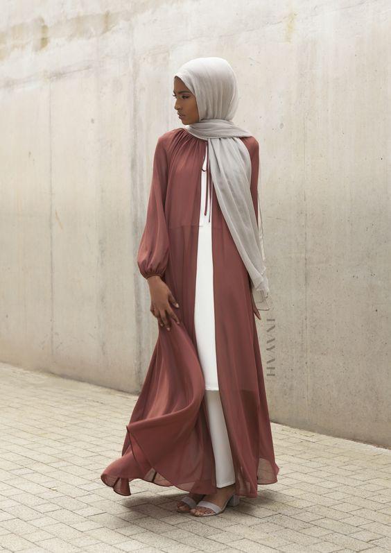 blush open abaya neutral tone hijab