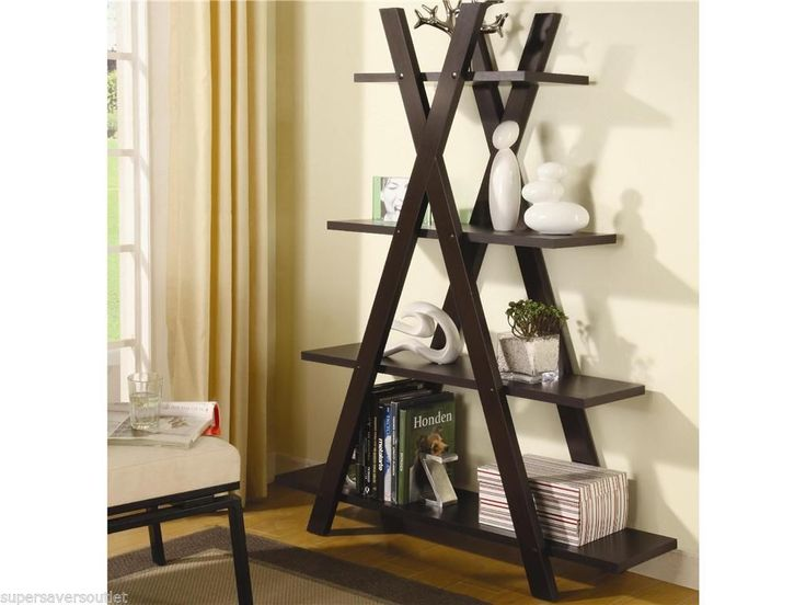 Rich Cappuccino x Ladder Style Bookcase Book Shelf Unit Home Office ...