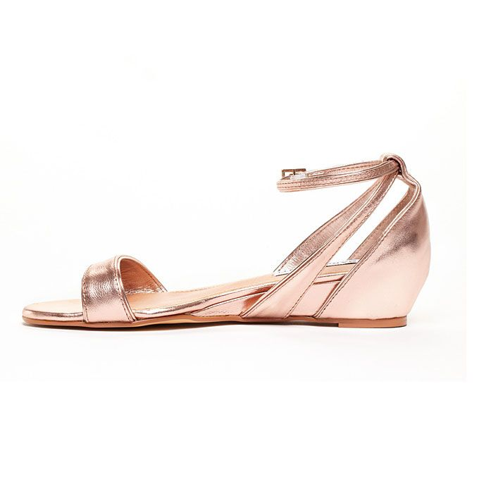 Brides.com: Rose Gold Wedding Shoes. Sandra mini wedge sandal, $49.95, available at Sole Society  See more beach wedding accessories.
