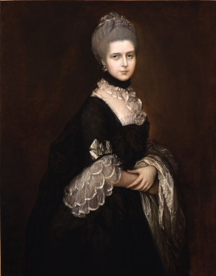 Gainsborough, Thomas, R.A. Portrait of Maria Walpole Countess of Waldegrave later Duchess of Gloucester. In a Black Mourning Dress. (1727-1788) - pin by @LauChansArt