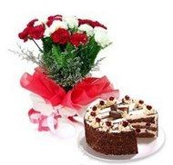 Carnations are a traditional expression of love and devotion.the bunch of 10 Red and White Carnations and 1/2 kg black forest Cake.. The sweet smelling Carnations along with the delish cake is sure to bring a warm smile to your special one's face.. http://www.onlinedelivery.in/flowers-delivery-in-ahmednagar.aspx