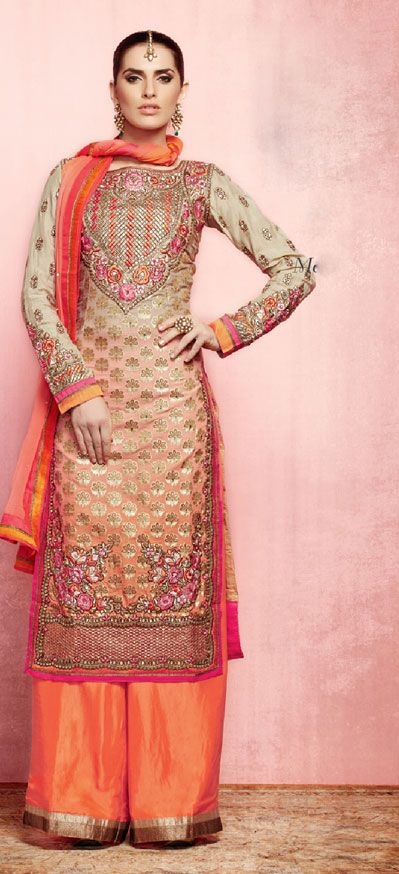 USD 113.5 Peach Double Shaded Punjabi Salwar Suit 37579
