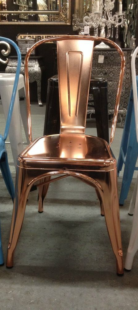 Fabulous Set of 4 Copper Plated Tolix Style Cafe Stacking Chairs Indoor/Outdoor