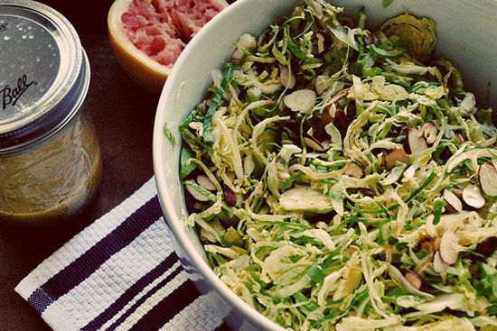 shredded brussels sprouts salad with caramelized onions, toasted ...