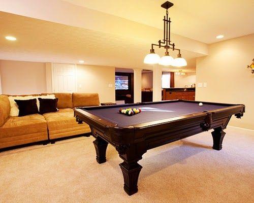 Modern Billiard Room Design Ideas with Pendant Chandelier Lighting and Elegant Sofa