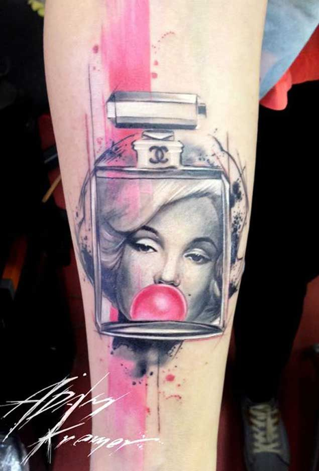Bubble Gum Marilyn Monroe Tattoo
