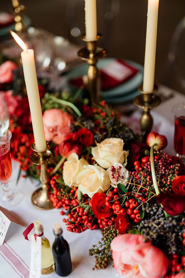 fall wedding flowers, concept flowers and styling by Green Goddess flower studio  - photo by Debbie Lourens http://ruffledblog.com/french-country-banquet-wedding-inspiration
