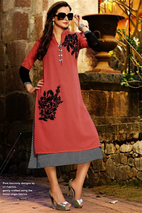 Tempting Pink Color Georgette #Kurti to buy.
