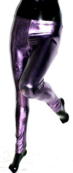 Leggings ecopelle viola