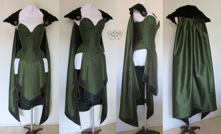 Costume created for a Lady Loki cosplay by Anachronism In Action. Materials used were olive green and black silk, leather, brass findings and zipper stops as decoration.  The skirts and cape are fully lined, and the fur collar is detachable. The cape hooks to the bust line of the corset, which helps distribute the weight.  Photo of the finished costume being worn: https://www.facebook.com/Anachronism.In.Action/photos/pb.269295446455519.-2207520000.1398391936./720412708010455/?type=3&theater