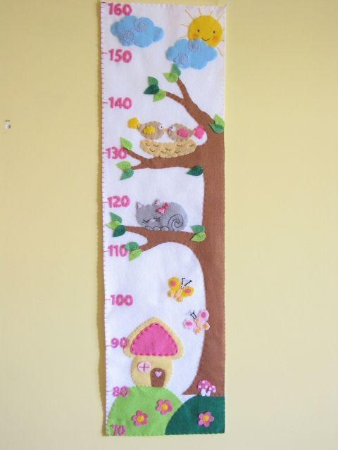 Magasságmérő- napocskával, madárkákkal, cicával, házikóval, Baba-mama-gyerek, Gyerekszoba, Baba falikép, Meska