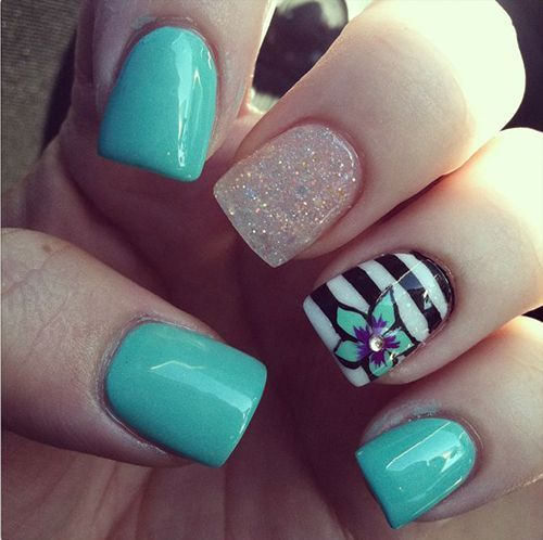 Next time by JulianaaXOXO - aqua turquoise striped white glitter nails