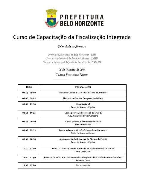 outubro/2014 Curso de Capacitação da Fiscalização Integrada