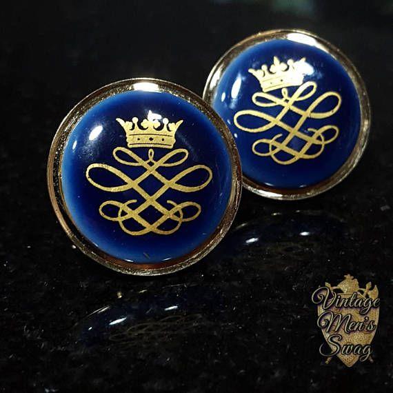 vintage cufflinks Royal Copenhagen Swank porcelain crown