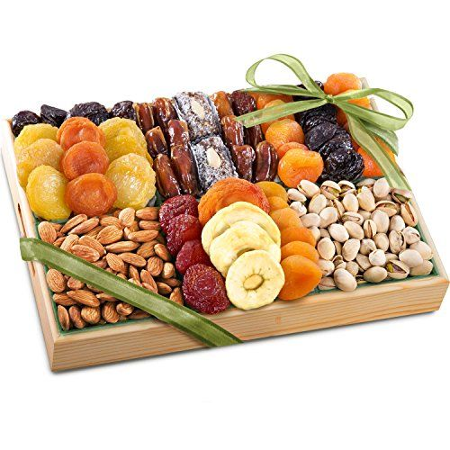 This healthy and lovely gift assortment presented in a sturdy wooden crate is filled with popular dried fruits and fresh nuts, perfect gift for birthdays, holidays or any occasion.