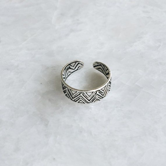 Aztec triangle toe ring Sterling silver tribal toe ring Boho