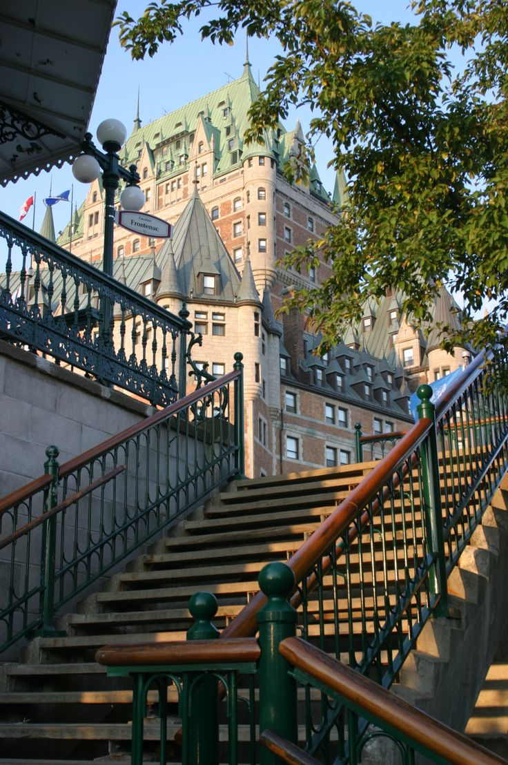 Morning in Quebec City: Le Chateau Frontenac from the stairs