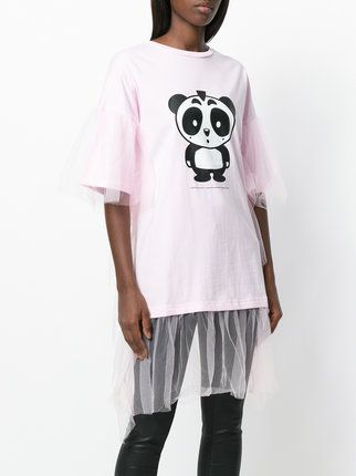 Nicopanda panda print tulle trim T-shirt