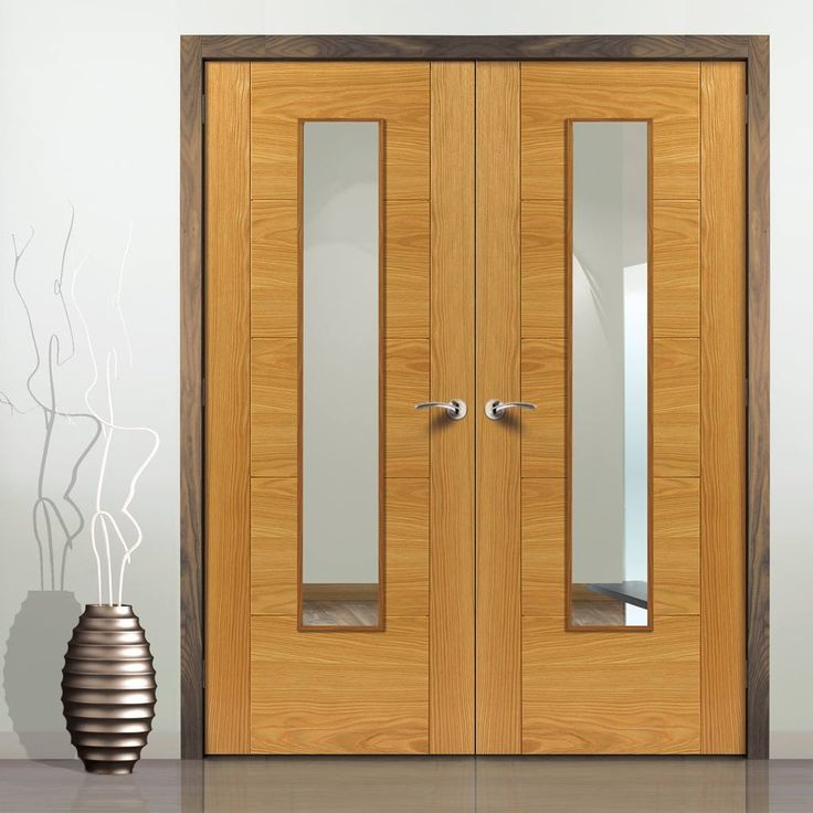 Jb kind emral veneer flush fire door pair with oak groove panel effect is fully pre-finished and 30 minute fire rated. #firedoors #internaldoyubledoors #firedoubledoors