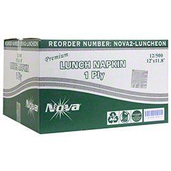 """NOVA®2 White 1-Ply 1/4-Fold Luncheon Napkin - 12"""" x 11.8"""""""