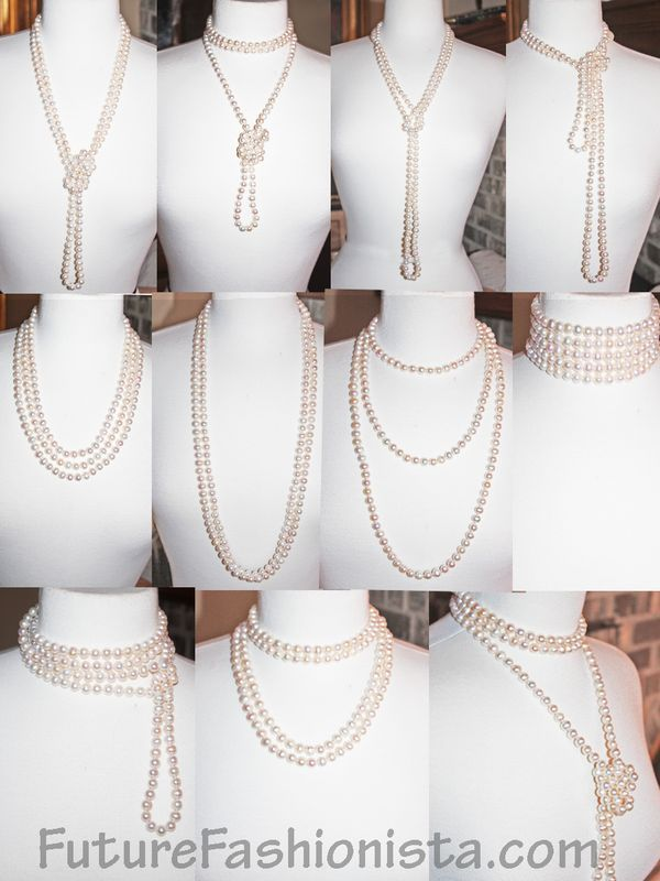 "So many pearls... so little time! Wear them Layered, twisted, knotted, tied, wrapped and pinned. Ideas for your 72"" strand: http://futurefashionista.com/wh8mmfrpe72s.html"