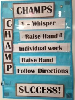 CHAMPS behavior expectation descriptions sized for a small pocket chart (mine came from dollar store).  Cut out and laminate at the beginning of the year and save time in writing behavior expectations all the time!