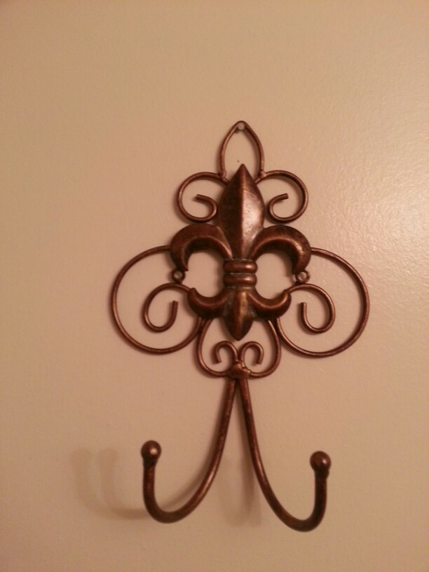 My beautiful fleur de lis bathroom hanging towel holder from Kirkland's - Kirkland's is the best!!!