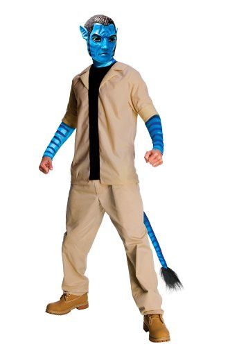 Avatar Jake Sully Costume And Mask, Blue, X-Large