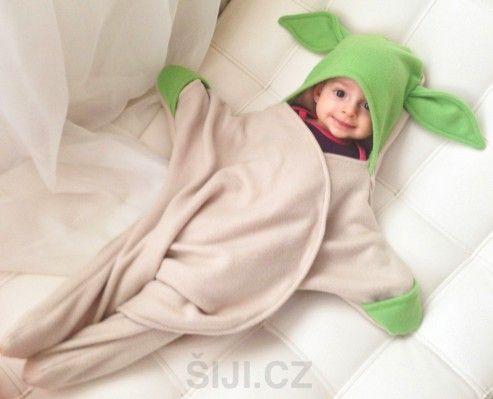 Dětská multifunkční zavinovačka (Fusak) Yoda | Šiji.cz - ručně šité polštářky, čepice, fusaky