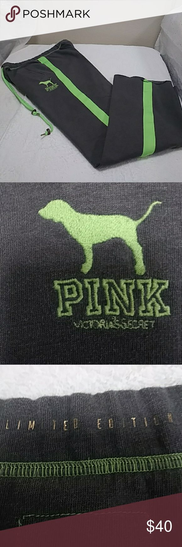 """VS """"PINK"""" LIMITED EDITION COLLEGIATE SWEATPANTS LIKE NEW...EXCELLENT CONDITION..WORN TWICE...GRAY WITH LIME GREEN STRIPES AND HAS A SMALL LIME GREEN STITCHED DOG LOGO ON FRONT WITH LIME GREEN STITCHED """"PINK"""" LOGO UNDERNEATH...POCKETS IN FRONT..AND LIME GREEN DRAWSTRINGS....XS...OVERSIZED ..THESE ARE """"LIMITED EDITION"""" PINK Pants Track Pants & Joggers"""