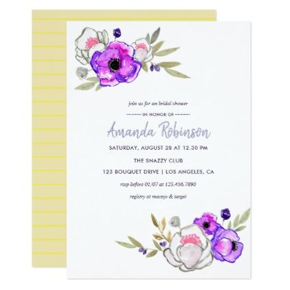 Spring Bridal Shower watercolor floral Invitation - wedding invitations diy cyo special idea personalize card
