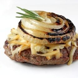 Grilled burgers with rosemary, truffle oil, Vidalia onion slices, and smoked Gruyere cheese