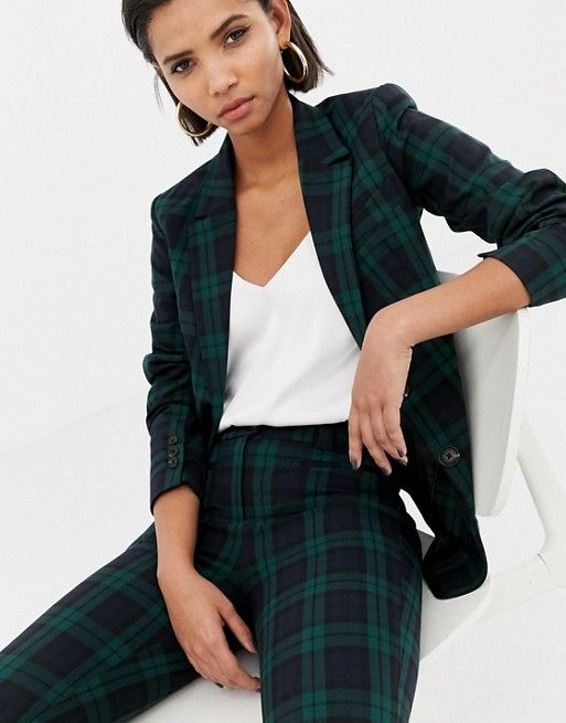 86bd6b051 Mango blue and green plaid blazer two-piece in navy in 2019 | She Stoops to  Conquer | Plaid blazer, Blue blazer outfit, Fashion