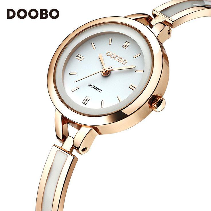 DOOBO Brand Women Dress Watches Ladies Quartz Wristwatches Stainless Steel Bracelet Watch Rose Gold Women's Watch Montre Femme
