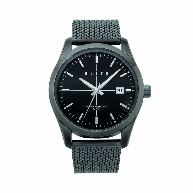 The minimalist Ensure his accessories match the rest of his monochromatic wardrobe with the Elite Gents 100m WR Watch. $149.00 from Pascoes.