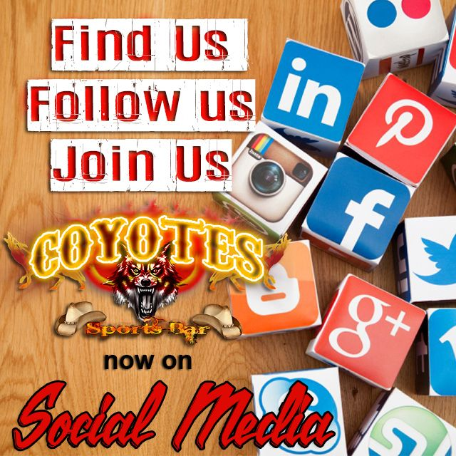 Find @CoyotesMargate and all our #specials #events & #promos on #Facebook #Twitter Google+ LinkedIn #Pinterest & #Instagram! http://bit.ly/1Xp7Cvg