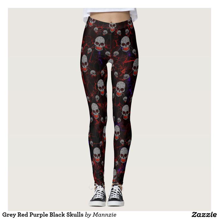 Grey Red Purple Black Skulls Leggings #skullleggings #leggings #skulls #chainedskull #skullfashion