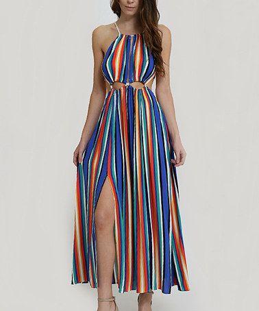 Blue & Red Stripe Cutout Maxi Dress