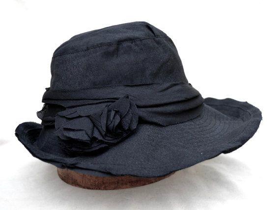 Black Fabric Hat /  Womens Spring  Brim Hat / Wedding Guest Hat / Vintage…