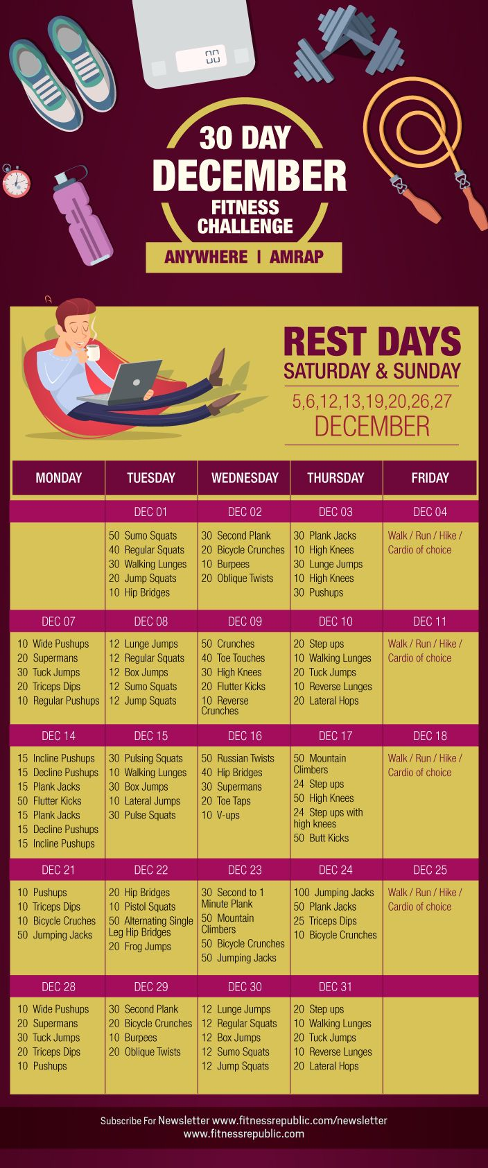 December is a tough month to work out due to dropping temperatures and the holiday season, so this challenge is meant to spark exercise excitement and keep you fit.