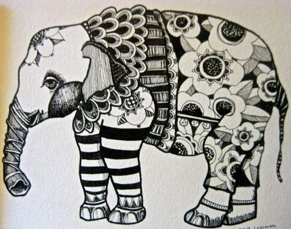 Elephant Drawing Illustration Art  print by pinkflamingo61 on Etsy, $20.00