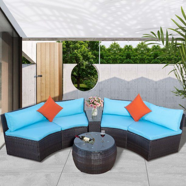 Clearance 6 Piece Patio Furniture Set All Weather Outdoor Conversation Set With Loveseat And Glass Table Wicker Sectional Sofa Set With Blue Cushions For Bac In 2020 Patio Furniture Sets Wicker Outdoor