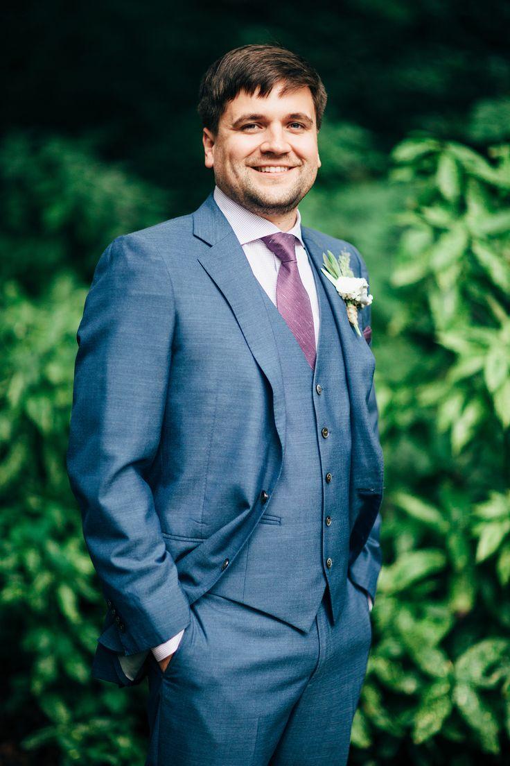blue and purple groomsmen attire
