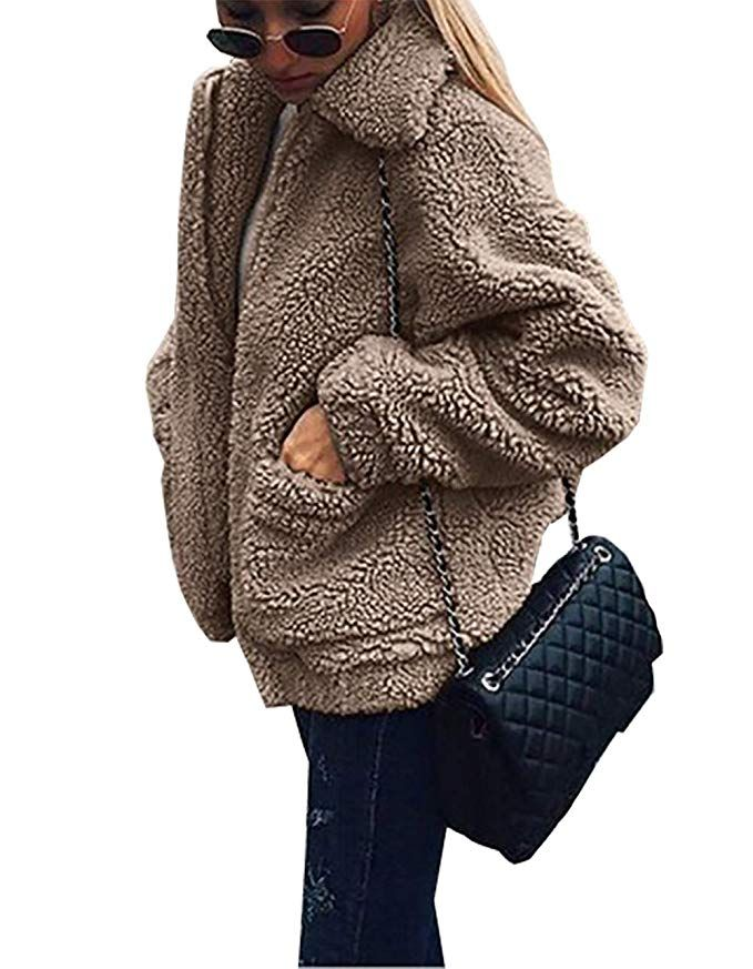 f2f8c8cc8 PRETTYGARDEN Women's Fashion Long Sleeve Lapel Zip Up Faux Shearling Shaggy  Oversized Coat Jacket with Pockets Warm Winter (Coffee, X-Large)