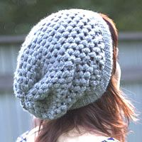 free pattern for slouchie beanie. new puffy stitch included. love.
